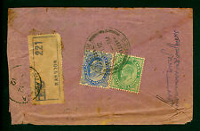 INDIA 1912 K.Edward VII  2a6p+½a on REGISTERED cover from RANGON(BRUMA) to TAMIL