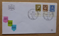 1970 ISRAEL CIVIC ARMS 3 STAMPS FDC FIRST DAY COVER W/- TAB