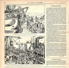 Scaphandre Scaphandrier Navire la Reine-Blanche Pompe de Sauvetage GRAVURE 1877