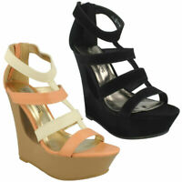 New Ladies Strappy Sandals Platform Peep Toe Womens High Cutout Wedge Shoes Size