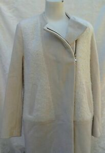 FRENCH CONNECTION OATMEAL/WINTER WHITE 3/4 COAT .. UK 14 .. BNWT