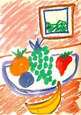 EXPRESSIONIST ABSTRACT PAINTING WATERMELON CORN CONTEMPORARY MODERNIST DESIGN