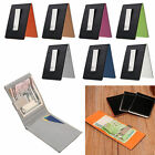 Luxury Mens Leather Silver Money Clip Slim Wallet ID Credit Card Holder Purse