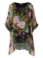 Joe Browns ladies blouse top plus size 26 28 32 black floaty floral eveningwear