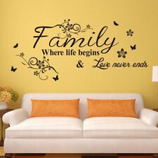 Wall Sticker Family Letter Quote Removable Vinyl Decal Art Mural Home Decor E7CX
