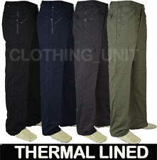 Thermal Fleece Lined Semi Elasticated Waist Action Cargo Walking Work Trouser