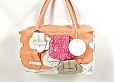 Chloe Saskia Patchwork Womens Handbag White/Peach 8ES418-8E822