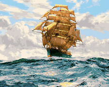 "16""x20"" Dimensions DIY Paint By Number Kit On Canvas-- Sailing Ship 972"