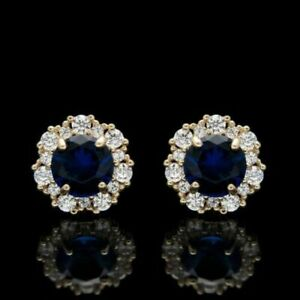 3Ct Round Cut Blue Sapphire Diamond Stud Push Back Earrings 14K Rose Gold Finish