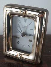 Vintage sterling silver wood Florence Italy quartz clock Hechinger W. Germany