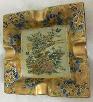 "Vintage Asian Ashtray Hand Painted Ornate Ceramic Pheasant Gold Embossed 5.5"""
