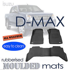 To suit Isuzu D-Max Dual Cab dmax 2012 to 2018 - Black Rubber 3D Car Floor Mats