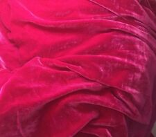 "Silk VELVET Fabric HOT FUCHSIA PINK 9""x22"" remnant"