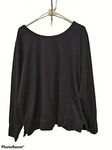 OLD NAVY WOMENS SHIRT DARK BLUE LONG SLEEVE ROUND NECK TOP WITH THUMBHOLES XXL
