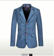 Mens slim fit retro suede blazer suit jacket