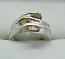 Heavy 9 Carat White Gold And Fossilized Amber Dress Ring Size M.1/2