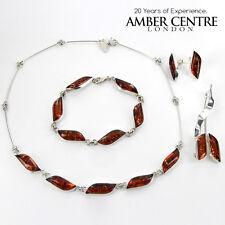 Leaf Design Cognac Colour Baltic Amber & 925 Sterling Silver Set- SET14 RRP£300