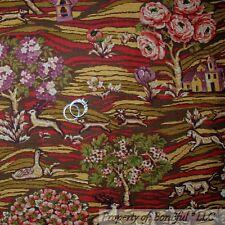 BonEful FABRIC FQ Cotton Quilt VTG Tapestry Scenic Tree Rose Flower Royal Animal
