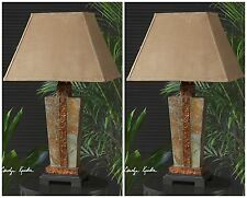 TWO NEW RICH CARVED SLATE TABLE LAMPS HAMMERED COPPER ACCENTS SUEDE BELL SHADES