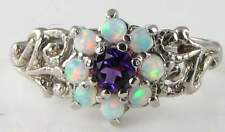 STUNNING 9CT 9K WHITE GOLD VICT INSP AMETHYST & OPAL RNG