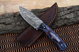 """8""""MH KNIVES CUSTOM HANDMADE DAMASCUS STEEL FULL TANG HUNTING/SKINNER KNIFE D-60U"""