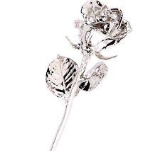 """Platinum Dipped Rose Real Long Stem Rose 12"""" Long Everlasting Rose Great Gift"""