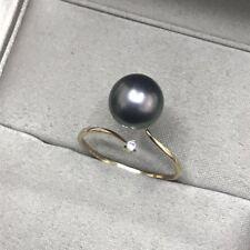 Stunning AAA++ 8-9mm real natural Tahitian black round pearl ring 18k adjustable