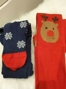 Christmas Tights 6-12 months F&F Red Reindeer Blue Snowflakes