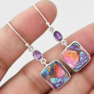 Kingman Orange Dahlia Turquoise and Amethyst 925 Silver Earrings Jewelry 9321