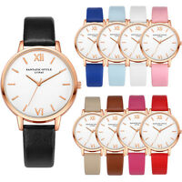 Fashion Women Luxury Quartz Analog Dress Watch Gold Leather Band Wrist Watches