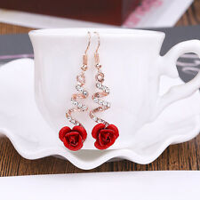 Exquisite Women Gold Crystal Red Rose Flower Earrings Hook Dangle Drop Jewelry