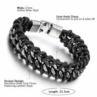"Mens Vintage Stainless Steel Chain Black Braided Leather Bracelet Bangle 8.5"""