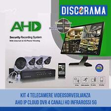 KIT 4 TELECAMERE VIDEOSORVEGLIANZA AHD IP CLOUD DVR 4 CANALI HD INFRAROSSI 5G