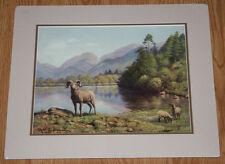 Robert Lindneux Matted Print Bighorn Sheep Mountain Lake Repro 1919 Painting