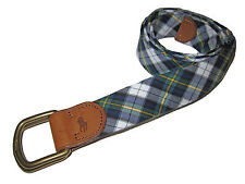 Polo Ralph Lauren Green Tartan Plaid D Ring Big Pony Brown Leather Belt Large L