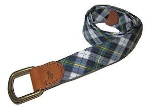 Polo Ralph Lauren Green Tartan Plaid D Ring Big Pony Brown Leather Belt Large L