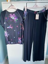 By By Ted Baker Pomegrante Navy Blue Floral Pajamas Size 10 NEW W TAGS!