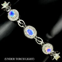 AWESOME NATURAL OVAL 7x5mmFULL FLASH FIRE OPAL&W CZ STERLING 925 SILVER BRACELET