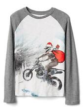 Gap shirt 4 5 boys mountain bike Santa Snow holiday long sleeve baseball NWT