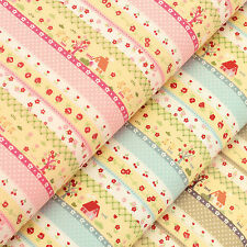 Cotton Fabric FQ Home Tree Rose Flower Cherry Chicken Duck Polka Dot Stripe VA82