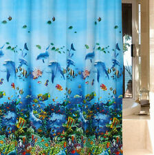 NEW Ocean Sea Life Curtain Waterproof Shower Bathroom 180X180cm With Hooks Ring