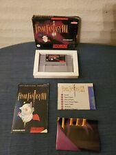 Final Fantasy III 3 Complete CIB Super Nintendo FF3 SNES FFIII w/ Map & Poster