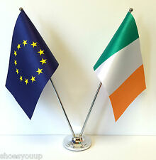European Union EU & Ireland Flags Chrome and Satin Table Desk Flag Set