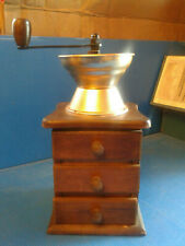 Vintage Wood Hand-Crank COFFEE BEAN MILL GRINDER With Drawer Decor