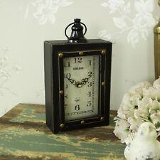 Small brown vintage matel shelf clock shabby retro chic gift shelf display