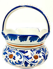 """Deruta Italian Majolica Pottery 7"""" Basket With Handle Hand Painted Italy Blue"""
