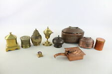 More details for 10 x vintage copper & brass boxes inc. yarn box, coin box, enamelled etc (3950g)
