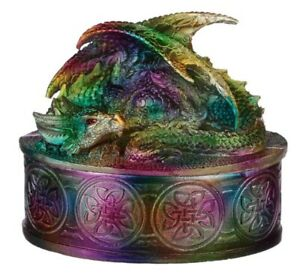 Metallic Rainbow Dragon Jewellery Trinket Box Fantasy Gothic Decorative Figurine