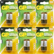 6 x GP ULTRA 9V Batteries MN1604 6LR61 PP3 BLOCK 6LF22 ALKALINE