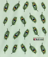 Nail Art Water Decals Peacock Feathers BLE1686